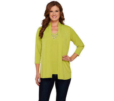 Susan Graver Liquid Knit Cardigan and Tank Set with Embellishments
