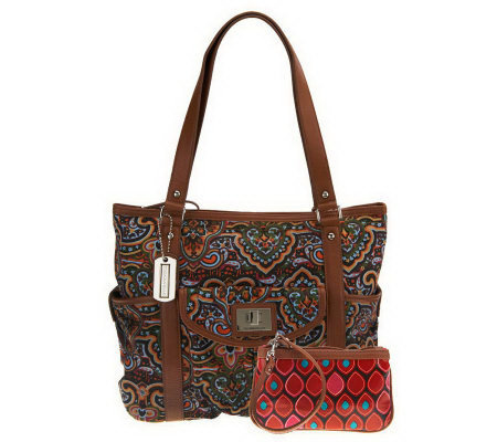 Tignanello Canvas Tote Bag with Pouch