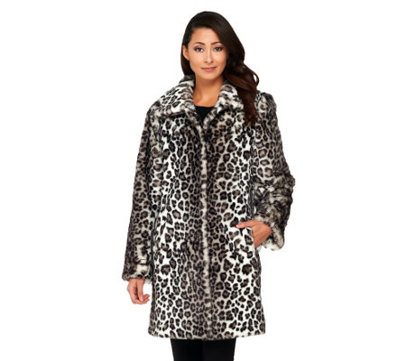 Dennis Basso Leopard Print Faux Fox Fur Fully Lined Coat