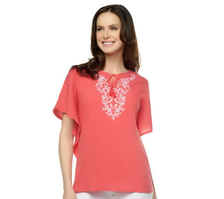 Denim & Co. 2-pc Gauze Embroidered Butterfly Sleeve Top