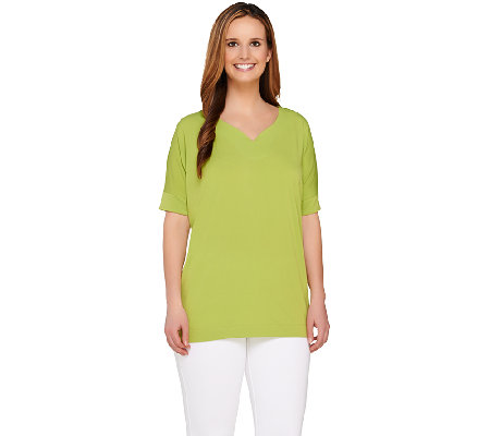 Susan Graver Liquid Knit Top with Batwing Sleeve and Curved V-Neck