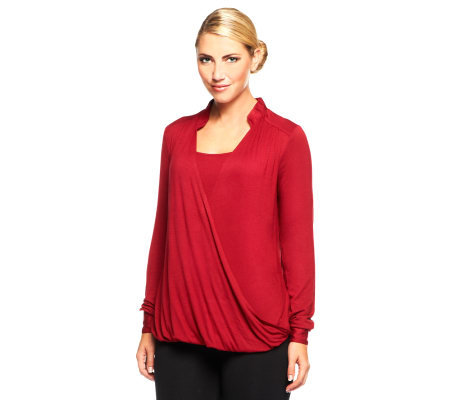 Kris Jenner Kollection Twist Front Hi-Low Hem Knit Top