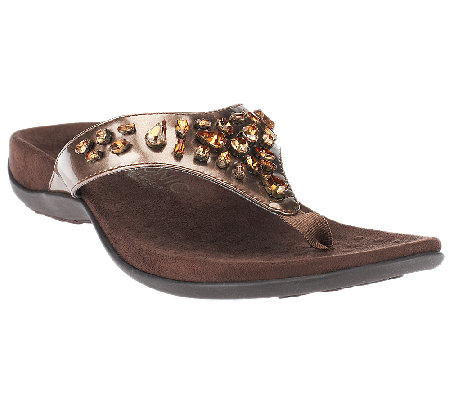 Vionic w/ Orthaheel Thong Sandals w/ Jewel Detail - Pearl