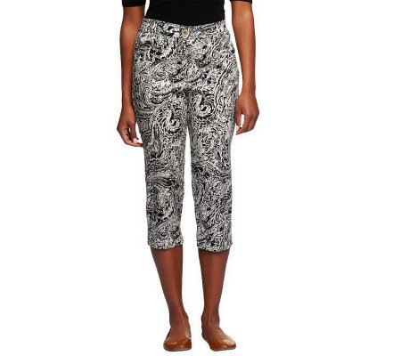 """As Is"" Susan Graver Printed Stretch Cotton Sateen Capri Pants"
