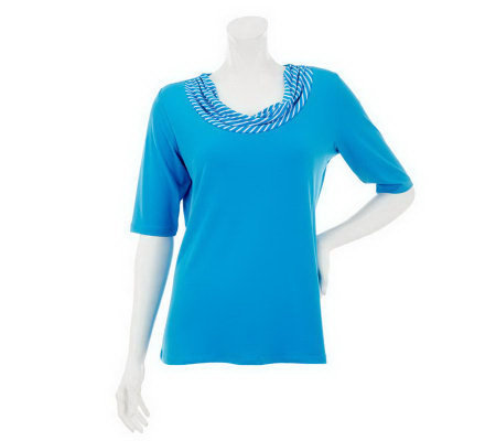 """As Is"" Susan Graver Solid Liquid Knit Top with Printed Neckline"