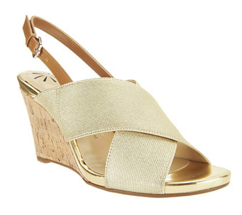 Isaac Mizrahi Live! Stretch Cork Wedges - A240749