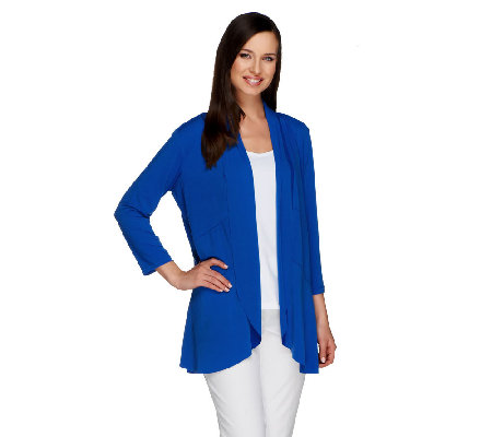 Susan Graver Liquid Knit 3/4 Sleeve Open Front Cardigan