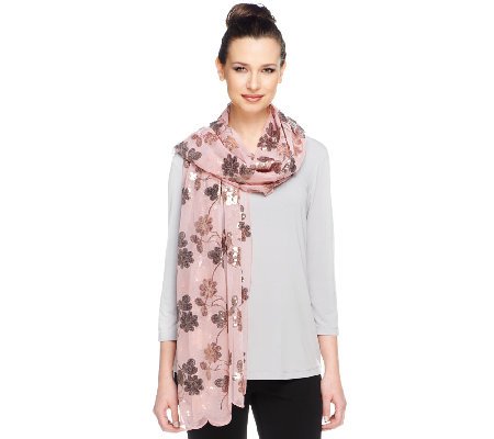 Joan Rivers Floral Elegance Sequin Scarf
