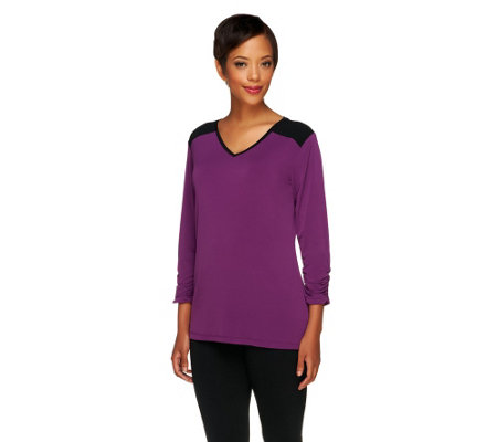 Susan Graver Liquid Knit 3/4 Sleeve Color-block Top w/Ruching