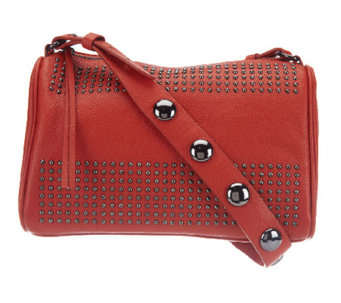 """As Is"" Kelsi Dagger Leather Tyler Long Shoulder Bag w/ Bold Stud - A256649"