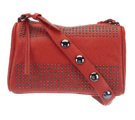 """As Is"" Kelsi Dagger Leather Tyler Long Shoulder Bag w/ Bold Stud"