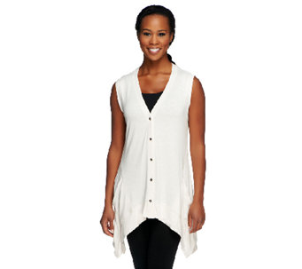 """As Is"" LOGO by Lori Goldstein V-neck Vest with Seaming Detail - A257649"