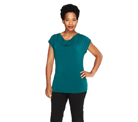 Susan Graver Liquid Knit Drape Neck Top w/ Shirring Detail