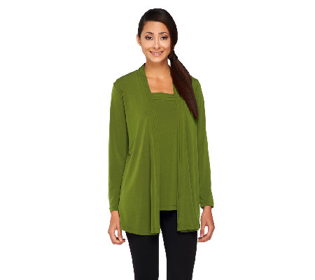 Susan Graver Liquid Knit Cardigan and Square Neck Tank Set
