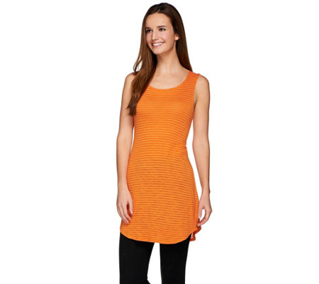 LOGO by Lori Goldstein Striped Knit Tank with Curved Hem