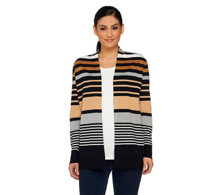 Liz Claiborne New York Open Front Stripe Cardigan and Tank Set
