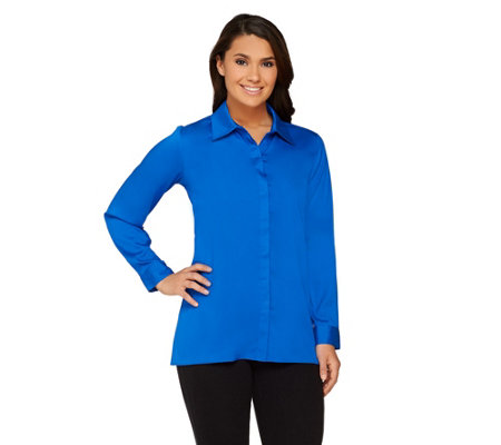 Joan Rivers Silky Blouse with Hi-low Hem
