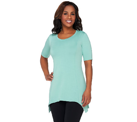 LOGO Lounge by Lori Goldstein French Terry Seamed Top with Short Sleeve