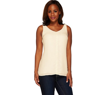G.I.L.I. Sleeveless V-Neck Tunic with Front Seam Detail