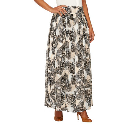 Dennis Basso Petite Paisley Printed Pleated Maxi Skirt