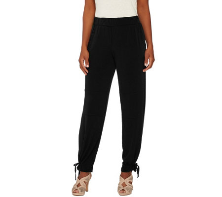 Lisa Rinna Collection Regular Pull-On Knit Pants with Drawstrings
