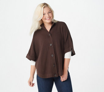 Denim & Co. Stand Collar Button Front Poncho Sweater - A269349
