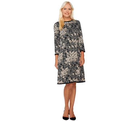 Isaac Mizrahi Live! Floral Lurex Jacquard Sweater Dress