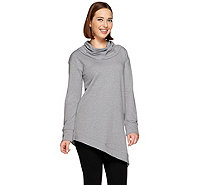 H by Halston Cowl Neck French Terry Asymmetric Hem Sweatshirt - A271149
