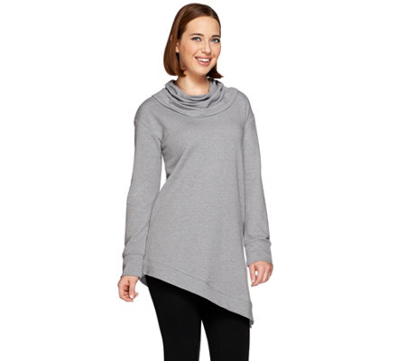 H by Halston Cowl Neck French Terry Asymmetric Hem Sweatshirt