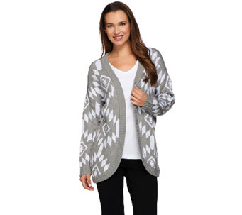 Denim & Co. Open Front Southwestern Jacquard Cardigan - A273049