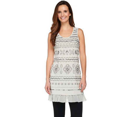 LOGO Lavish by Lori Goldstein Embroidered Knit Tank with Chiffon Trim