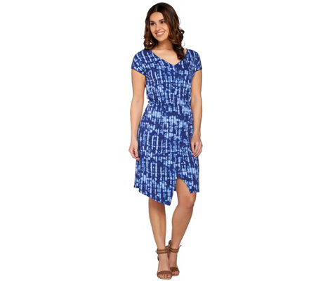 H by Halston Printed V-Neck Split Hem Dress