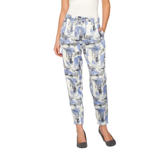 H by Halston Block Print Pull-On Jogger Pants with Drawstring - A275449