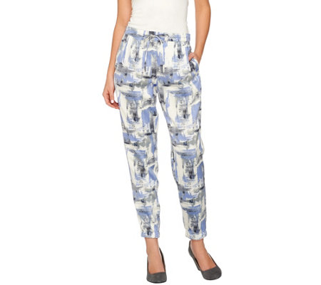 H by Halston Block Print Pull-On Jogger Pants with Drawstring
