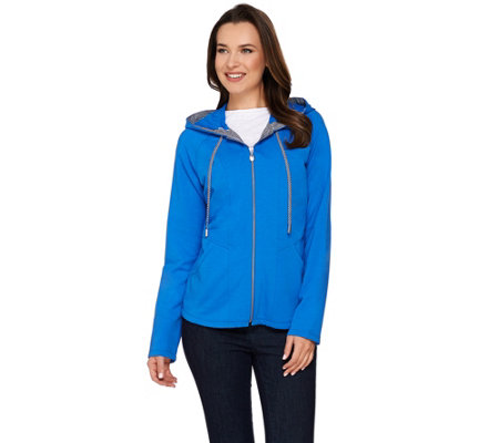 Susan Graver Weekend French Terry Hooded Jacket with Seaming Detail