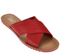 Franco Sarto Leather Cross Strap Slide Sandals - Quentin - A276049