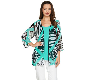 Bob Mackie's 3/4 Sleeve Printed Kimono with Scoop Neck Tank - A276149