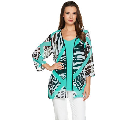 Bob Mackie's 3/4 Sleeve Printed Kimono with Scoop Neck Tank