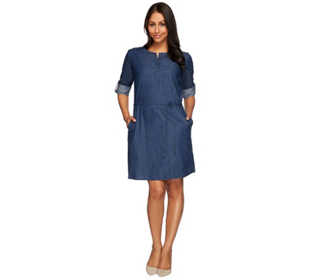 Kelly by Clinton Kelly Denim Dress with Roll Tab Sleeves