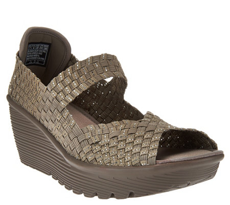Skechers Woven Open-toe Wedges w/ Memory Foam - Parallel