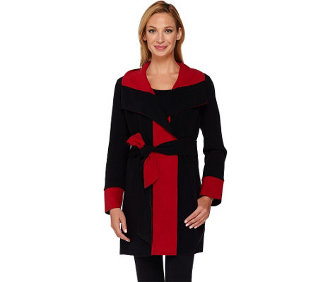 """As Is"" Susan Graver Weekend Bonded Polar Fleece Wrap Jacket"