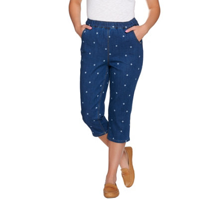 Denim & Co. Pull-on Star Printed Capri with Pockets