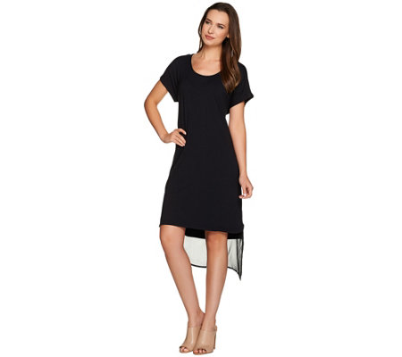 H by Halston Layered T-Shirt Dress with Cross Back
