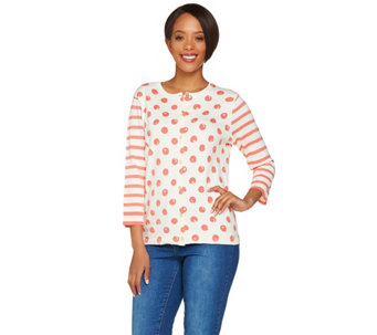 Isaac Mizrahi Live! Polka Dot and Stripe Mixed Print Cardigan - A278049