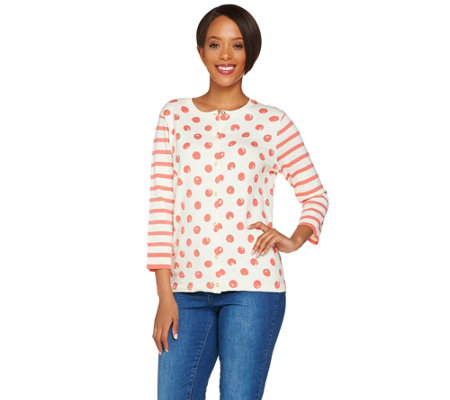 Isaac Mizrahi Live! Polka Dot and Stripe Mixed Print Cardigan