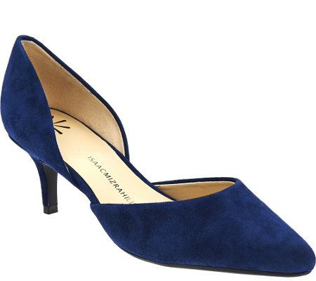 """As Is"" Isaac Mizrahi Live! Suede D'Orsay Pump"