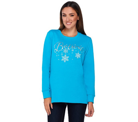 """As Is"" Quacker Factory Believe in Winter Wishes Sweatshirt"