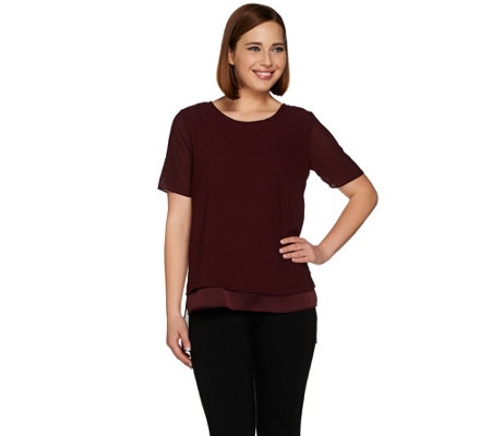 H by Halston Short Sleeve Layered Top with Hi-Low Hem