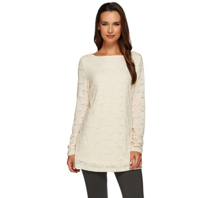 """As Is"" Susan Graver Stretch Lace Bateau Neck Long Sleeve Tunic"