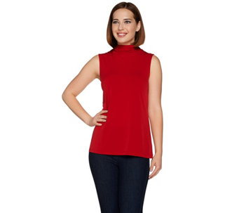 Susan Graver Liquid Knit Sleeveless Turtleneck Top - A280649